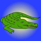 Ejemplo del vector del arte pop del cocodrilo Imagen de archivo