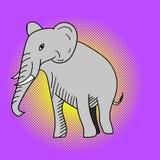 Ejemplo del vector del arte pop del elefante Foto de archivo libre de regalías