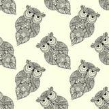 Ejemplo del vector del búho ornamental Pájaro Fotos de archivo libres de regalías