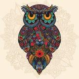 Ejemplo del vector del búho ornamental Pájaro ilustrado en tribal Foto de archivo libre de regalías