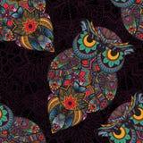 Ejemplo del vector del búho Pájaro ilustrado en tribal Búho con las flores en fondo oscuro Fotografía de archivo libre de regalías