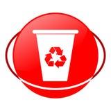 Ejemplo del vector del bote de basura, icono rojo Fotos de archivo