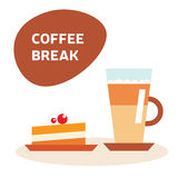 Ejemplo del vector del café y de la torta libre illustration
