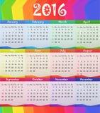 Ejemplo 2016 del vector del calendario del estilo del niño Foto de archivo libre de regalías