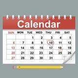 Ejemplo del vector del calendario en estilo plano Imagen de archivo