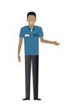 Ejemplo del vector del carácter del hombre del trabajador de la tienda Foto de archivo