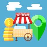 Ejemplo del vector del carro del helado stock de ilustración