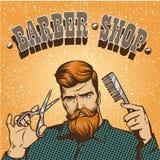 Ejemplo del vector del cartel de la peluquería de caballeros El estilista del inconformista con las tijeras diseña en estilo del  Imagenes de archivo