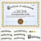 Ejemplo del vector del certificado del oro modelo stock de ilustración