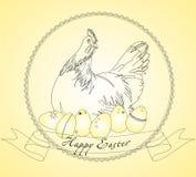 Ejemplo del vector del chickend y de los huevos de Pascua Foto de archivo
