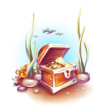 Ejemplo del vector del cofre del tesoro en el océano Foto de archivo libre de regalías