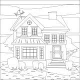Ejemplo del vector del colorante de la construcción de viviendas de Catroon Fotos de archivo libres de regalías