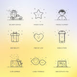 Ejemplo del vector del comercio determinado de las compras de los iconos, márketing, concepto del negocio en la línea estilo Fotografía de archivo libre de regalías