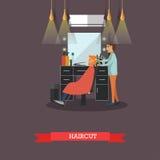 Ejemplo del vector del concepto de la barbería en estilo plano Elementos e iconos del diseño del salón de pelo Peluquería de caba Foto de archivo