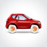 Ejemplo del vector del concepto del coche de entrega del sushi Foto de archivo libre de regalías