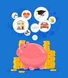 Ejemplo del vector del concepto del dinero del ahorro Hucha rosada con las pilas de oro de la moneda en fondo Imagen de archivo libre de regalías