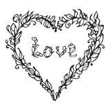 Ejemplo del vector del corazón Garabato dibujado mano del amor Elemento alineado Foto de archivo