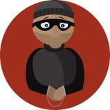 Ejemplo del vector del criminal en esposas ilustración del vector