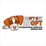 Ejemplo del vector del día sin hogar internacional de los animales lindo Ilustración del Vector