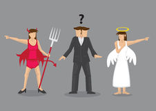 Ejemplo del vector del dilema de la toma de decisión de Angel Vs Devil libre illustration