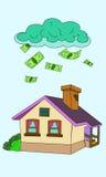 Ejemplo del vector del dinero de la casa que cae Imagen de archivo