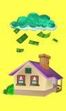 Ejemplo del vector del dinero de la casa que cae Fotografía de archivo