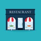 Ejemplo del vector del edificio del restaurante Iconos de la fachada Imágenes de archivo libres de regalías