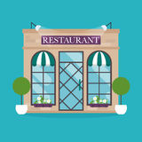 Ejemplo del vector del edificio del restaurante Iconos de la fachada Fotografía de archivo libre de regalías