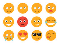 Ejemplo del vector del Emoticon Fije la cara del emoticon en un fondo blanco Diversa colección de las emociones Foto de archivo