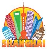 Ejemplo del vector del esquema del círculo de color del horizonte de la ciudad de Shangai Imagenes de archivo