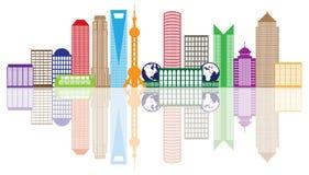 Ejemplo del vector del esquema del color del horizonte de la ciudad de Shangai Imagen de archivo