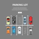 Ejemplo del vector del estacionamiento del coche de la ciudad en estilo plano Imagen de archivo