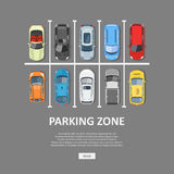 Ejemplo del vector del estacionamiento del coche de la ciudad en estilo plano Imagen de archivo libre de regalías