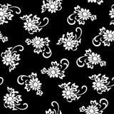 Ejemplo del vector del estampado de plores blanco y negro Foto de archivo libre de regalías