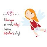 Ejemplo del vector del estilo de la historieta del ángel del cupido de Valentine Day Fotos de archivo
