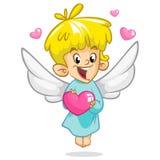Ejemplo del vector del estilo de la historieta del ángel del cupido de Valentine Day Niño del cupido de Amur que juega en el fond imagenes de archivo