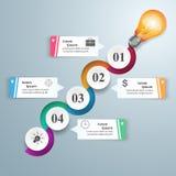 Ejemplo del vector del estilo de la papiroflexia de Infographics del negocio Bulbo ic Fotos de archivo