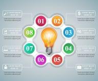 Ejemplo del vector del estilo de la papiroflexia de Infographics del negocio Bulbo ic Imagen de archivo