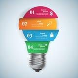 Ejemplo del vector del estilo de la papiroflexia de Infographics del negocio Bulbo ic Foto de archivo