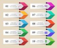 Ejemplo del vector del estilo de la papiroflexia de Infographics del negocio Lista de Imagen de archivo