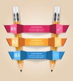 Ejemplo del vector del estilo de la papiroflexia de Infographics del negocio Lápiz Imagenes de archivo