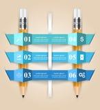 Ejemplo del vector del estilo de la papiroflexia de Infographics del negocio Lápiz Fotografía de archivo libre de regalías