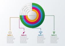 Ejemplo del vector del estilo de la papiroflexia del círculo de Infographics del negocio Imágenes de archivo libres de regalías