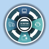 Ejemplo del vector del estilo de la papiroflexia del círculo de Infographics del negocio Fotografía de archivo libre de regalías