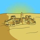 Ejemplo del vector del estilo del arte pop del castillo de la arena Imagenes de archivo