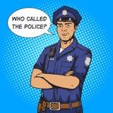Ejemplo del vector del estilo del arte pop del policía Imagen de archivo libre de regalías