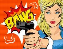 Ejemplo del vector del estilo del arte pop Mujer con el arma Imagenes de archivo
