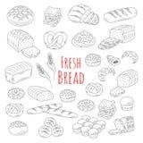 Ejemplo del vector del estilo del garabato de la colección del pan fresco de la panadería Imagenes de archivo