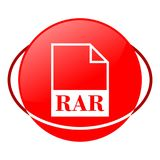 Ejemplo del vector del fichero del Rar, icono rojo Imagen de archivo libre de regalías