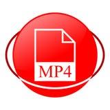 Ejemplo del vector del fichero Mp4, icono rojo Fotografía de archivo